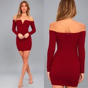 Lulu's Over the Swoon Off Shoulder Bodycon Dress